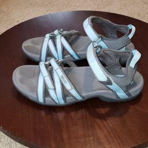 Teva Tirra Sandals sz 10 Womens Light Blue & Grey